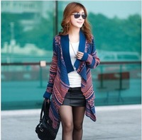 free shipping 2014 Spring  National wind female long-sleeved striped retro big hit color cardigan shawl sweater