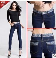 hot sale roll-up elastic snowflake women's skinny pencil jeans /slim mid waist ladies demin pants 26-32 blue women 's jeans