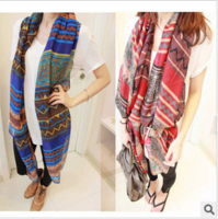 Fashion Women Long Voile Tribal Aztec Scarf Shawl Muslim Hijab Free Shipping