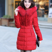 2013 autumn and winter outerwear luxury lace patchwork fur collar with a hood down coat medium-long female
