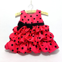 Wholesale 6pcs/lot girl dress children clothing baby polka dot dress girl princess dress for birthday party free shipping