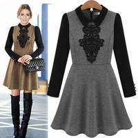 Free Shipping 2014 Hot Sale New Women's Fashion Spring Summer Autumn Peter pan Collar Full A-Line Patchwork Cute Dress 474