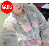 Women's sweet ladies plush peones design long fur coat  CL002