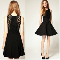 Free Shipping 2014 Hot Sale New Women's Fashion Lace Cotton Black Knee-Length O-neck Sleeveless A-Line Solid Cute Dress 471