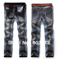 New Arrival Europe Style Fashion Color Matching Jeans Men Straight Jeans New Process Amazing Model