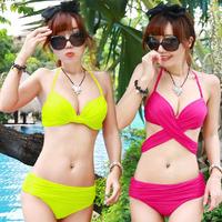 2014 Solid Polyester Bikinis Set Neoprene Bikini Swimsuit Nylon 1 3 Magicaf Draft Neon Color Bikini Steel Push Up Swimwear Small