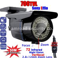 "700TVL 1/3"" SONY EFFIO-E Color CCD Night Vision 2.8-12mm Varifocal Lens Security Surveillance Outdoor CCTV Camera w 72 IR LED"