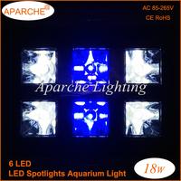 Hot sales 2015 New 18W 6X3W LED Coral Reef Plant Grow Flood Light Fish Tank Aquarium White Blue LED Bulbs