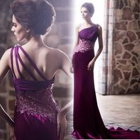 Noble and elegant Deep bride purple fashion elegant design long formal dress evening dress slim 2013 slim hip fish tail