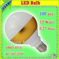 high lumen 15w lampada led bulb e27 smd 4014 energy smart light bulbs golden plastic shell cold white ac 160-250v