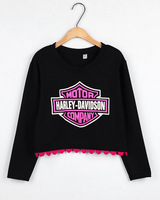 free shipping Autumn and winter HARAJUKU print long-sleeve all-match short design pullover sweatshirt outerwear women's 254244c