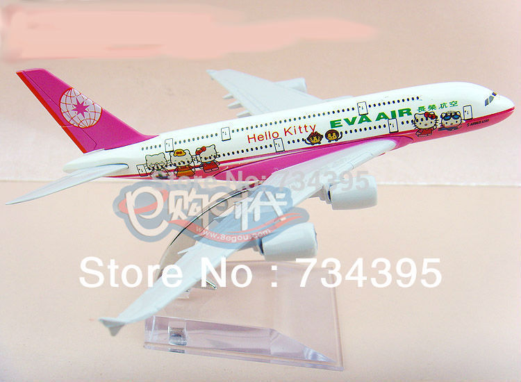 15 cm die-cast alloy aircraft model aircraft children's educational toys adult pink hellokitty Airbus A380 aircraft model(China (Mainland))