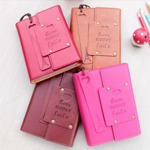 4 colors Vintage Hardcover Leather Journal Notebook with Leather Bookmarks Eiffel Tower Diary Book 11*15cm Free shipping 142(China (Mainland))