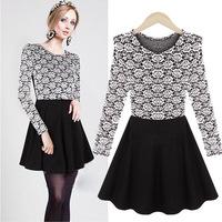 New Winter Dress European and American Show Thin Women Lace Dress Lady Party Print Dress Princess Dress Size S to XL
