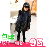 2013 child girls denim clothing genuine leather patchwork wadded jacket outerwear thickening cotton-padded jacket