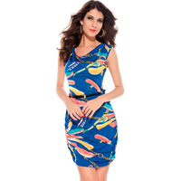 Fashion print bohemia sexy slim hip tight fitting 2758 one-piece dress