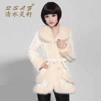 Seed 2013 winter fur collar slim eco-friendly fur coat medium-long fur overcoat