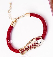 Cheap Wholesale J123 couple auspicious animal year red fish  lucky red string bracelet accessories hollow Bracelet 20pcs/lots