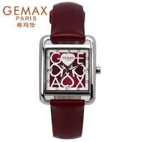 Free shipping Christmas gift fashion gemax women's  female waterproof  square lady quartz   women watch