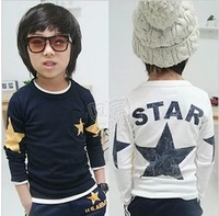 Free Shipping NEW 2014 1PC/Lot Spring & Autumn Children Boy Girl Long Sleeved T- Shirt  Boy Kid Clothes wholesale Kid  tops tees