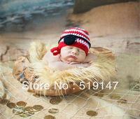 Free shipping cute pirate style baby hat handmade crochet photography props newborn baby cap