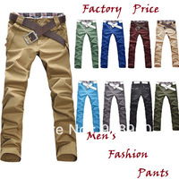 new promotion fashion Men's Pants jeans trousers/candy colored pants man/wholesale 10 colors long trousers free shipping