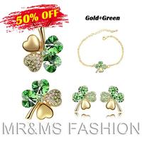 Free Shipping Wholesale 18K Austria Crystal Clover 4 Leaf Leaves Pendant Necklace Earrings Bracelet Brooch Gold Jewelry Set 9554