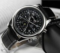 brand carnival swiss automatic self wind eight hand man watch 316L stainless steel  moon phase multifuction never fade