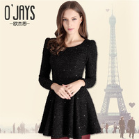 Fashion Clothes Women 2013 Autumn/Winter Female Dress 100% Cotton Mini Dress O-neck Long Sleeve Woolen Fashion Dress 1218H