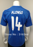 Hot sell 13/14 season best thai quality real madrid away blue 14# Alonso fans version short sleeve soccer football jerseys