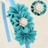Trail order Baby girl satin ribbon flower hairband Multilayers DIY Flower with pearl Rhinestones centre headband 20 pcs/lot