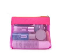H2097  Bicolor Top Zip Mesh Cosmetic Makeup Hand Bag Transparent Case Clutch
