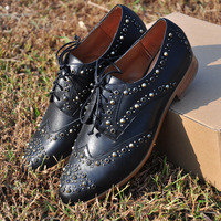 new 2013 women genuine leather shoes original rivets women flats neutral winds handsome shoes woman,free shippinng