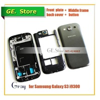 Free Shipping Original S3 Repair Parts full Housing for Samsung Galaxy S3 i9300 Full Set Cover Carcase GT-i9300 GRAY