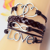1pc Hand Made Infinity Bracelet Brown /Black Suede Chain Retro Vintage Bronze Anchor Charm New Hot Men Women Fashionable Jewelry
