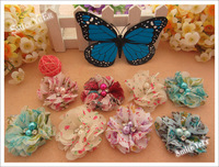 30pcs 8 Color 2inch Chiffon lace Flowers Hair Flower garment Flower baby hair accessories Fashion  Floral flower no hairclip