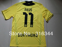 Hot sell 13/14 best thai quality Dortmund home yellow 11# REUS fans version soccer football jerseys,EPL patch