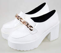 2014 VIVI,Popular hiphop street gold chain japanned leather platform shoes,women's thick heel shoes