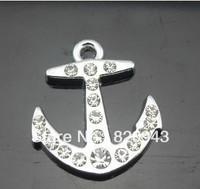 50pcs rhinestone anchor   Hang Charms Fit Pet Dog Cat Tag Collar Wristband
