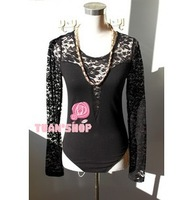 2014 new fashion Sexy womens black O-neck lace bodysuit lace Jumpsuits brand top quality