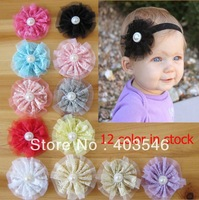"3.5"" Baby chiffon lace flowers handmade lace flowers with pearl buttons 12 colors baby flowers 100pcs free shipping"