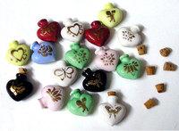 5 pcs Ceramic Perfume Vials Heart (28MMx30MM,assorted),Essential Oil Bottle pendant,Perfume necklace vial,DIY wishing bottles