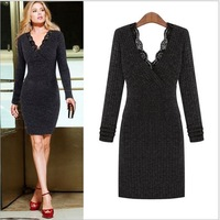 Free shipping/2014 New Spring women's sweater dress OL lady's deep V-neck dress slim long sexy dress