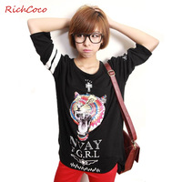 Richcoco multi-colored tigers print o-neck color block three quarter sleeve loose t-shirt basic shirt d074