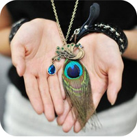 35 on0006 accessories female vintage peacock feather design full rhinestone long necklace 30g