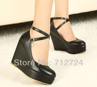 Free shipping! Sexy Black PU Leather Platform Pumps Wedge High Heels Ankle Strap Buckle Party Shoes
