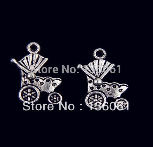 Wholesale Fashion Jewelry 19*12 mm Vintage Silver Pram Charms Pendants Fit Bracelets Men Jewelry Findings 100PCS P109(China (Mainland))