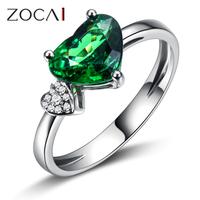 ZOCAI NATURAL FINE CERTIFIED 1.60 CT GREEN GARNET DIAMOND RING HEART CUT JEWELRY 18K WHITE GOLD