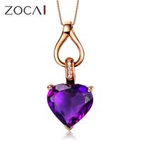 ZOCAI ZODIAC GEM 1.69CT PURPLE Amethyst DIAMOND 18K ROSE GOLD HEART PENDANT + 925 STERLING SILVER CHAIN NECKLACE