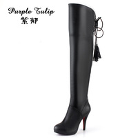 2013 women's boots genuine leather high-heeled boots over-the-knee cowhide platform high-leg boots female boots